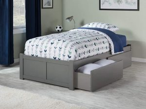 Atlantic Furniture Concord Captain's Bed with 2 Bed Drawers in Twin-Full