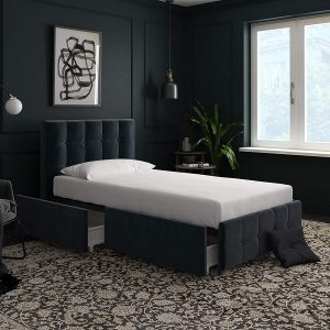 DHP Blue Velvet Upholstered Captain's Bed with Drawers for Storage