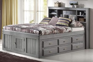 Discovery World Furniture Charcoal Full Bookcase Captain Bed with 6 Drawer Storage on ONE Side