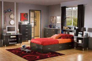 South Shore Cosmos Kid's Collection Twin Mates Bed with 3 Black Drawers for Storage